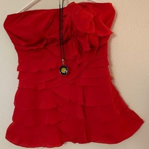 Short red dress, also can be worn as a nice top
